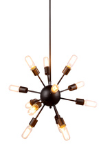 Elegant 1134D21VS - 1134 Cork Collection Chandelier D:21in H:21in Lt:12 Vintage Steel Finish