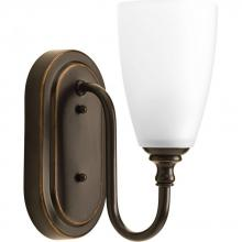 Progress P2074-20 - One-light bath and vanity fixture finished in antique bronze with an etched glass shade. Part of the