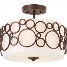 Progress P3741-74 - Two Light Venetian Bronze Opal Etched Glass Drum Shade Semi-Flush Mount