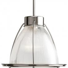 Progress P5182-09 - One Light Brushed Nickel Clear Prismatic Glass Down Pendant