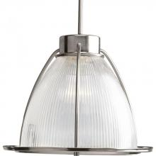 Progress P5183-09 - One Light Brushed Nickel Clear Prismatic Glass Down Pendant