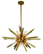 Elegant 1141G38BB - 1141 Maxwell Collection Chandelier D:38in H:26.4in Lt:14 Burnished Brass Finish (Royal Cut Crystals)