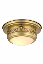 Elegant 1447F10BB - 1447 Mallory Collection Flush mount D:10in H:5.5in Lt:1 Burnished Brass Finish