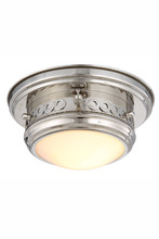 Elegant 1447F10PN - 1447 Mallory Collection Flush mount D:10in H:5.5in Lt:1 Polished Nickel Finish