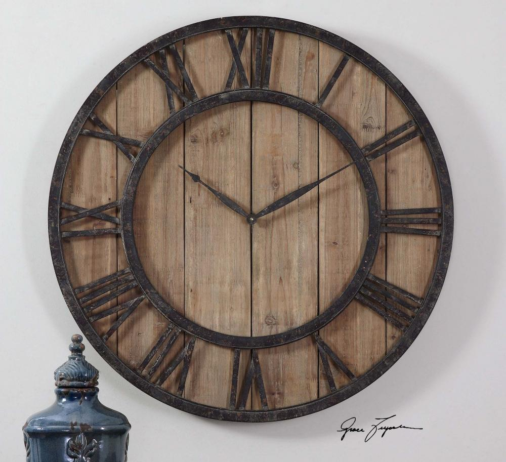 Sunbelt Lighting in HATTIESBURG, Mississippi, United States,  06344, Uttermost Powell Wooden Wall Clock, Powell