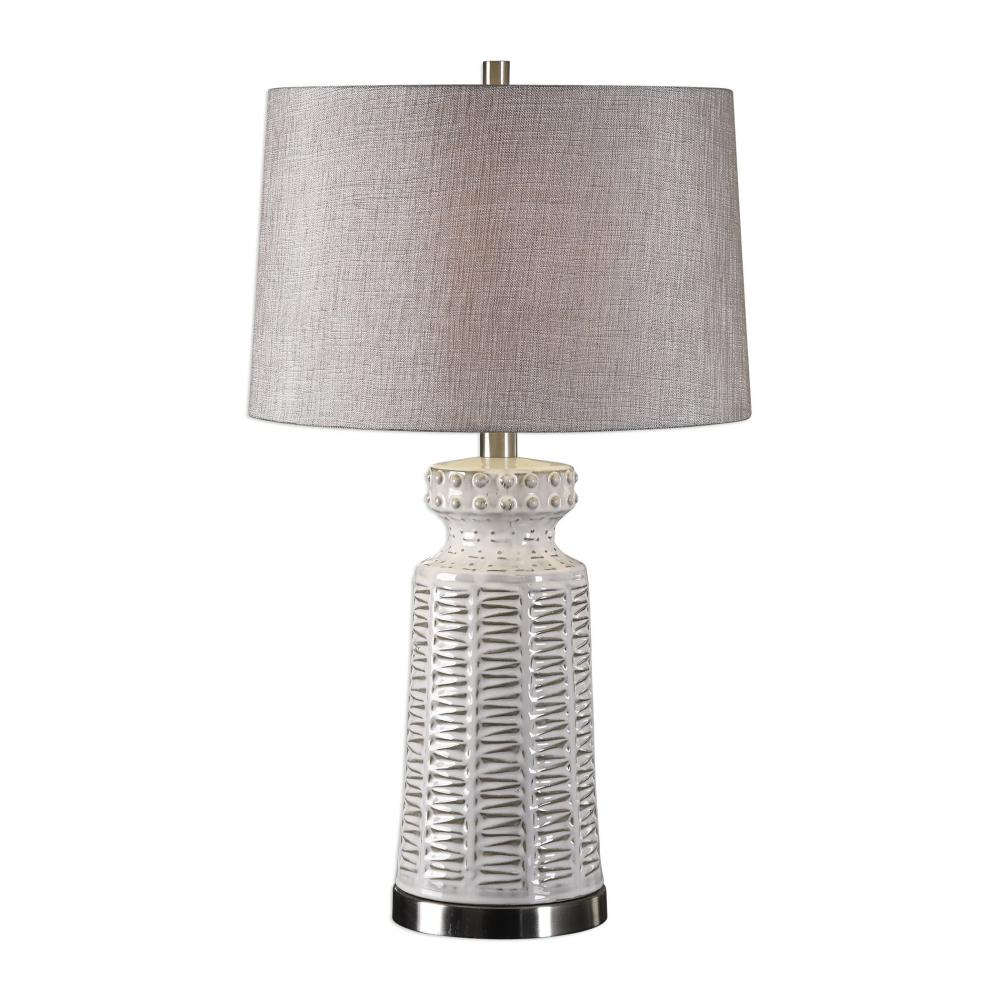 Sunbelt Lighting in HATTIESBURG, Mississippi, United States,  27535-1, Uttermost Kansa Distressed White Table Lamp, Kansa